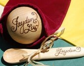 Baby Personalized Toy Wooden Ball and Spoon Gift Set