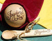 Baby Personalized Toy Wooden Ball and Spoon Gift Set - Christening, Birthday, new baby