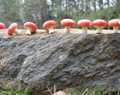 3 Wooden Painted red Mushrooms