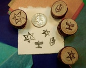 Mini Hanukkah Stamp kit , Jewish star of David, menorah, dreidel  4 stamps