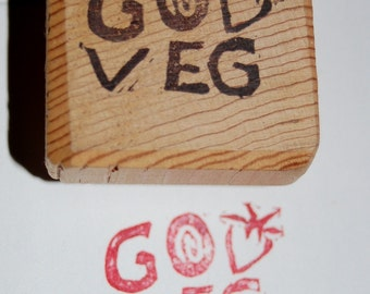GO VEG strawberry hand carved vegan or vegetarian stamp - FREE Shipping