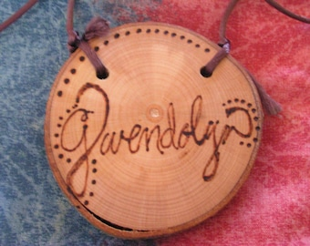 Personalized Childrens Natural Wooden Branch Necklace
