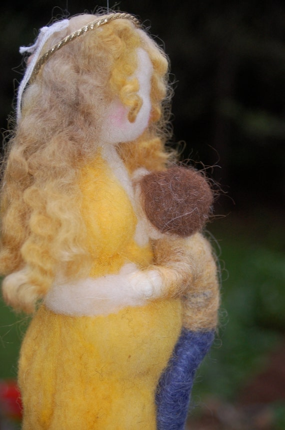 Pregnant/ Pregnancy Breastfeeding Needle Felted Doll - Sun Gold Goddess