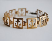 Anchor Bracelet - Vintage Brass - Nautical - Free Shipping in the US