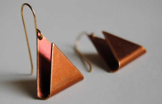 LAST PAIR - Geometric Vintage Triangle Earrings - Free Shipping in the US