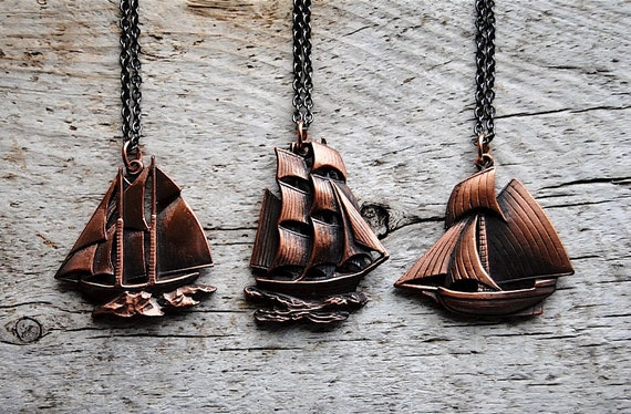Sailboat Necklace - Vintage Copper Boat Charms - Free Shipping in the US