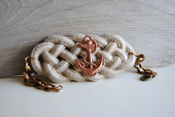 Anchor Bracelet - Nautical Knot Cuff with Vintage Anchor - Summer Fashion Jewelry - Free Shipping in the US