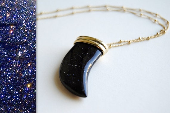 Blue Goldstone Tusk Necklace - Handmade Jewelry - Free Shipping in the US - Mother's Day Jewelry