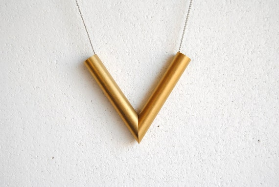 Brass V Necklace - FREE US Shipping