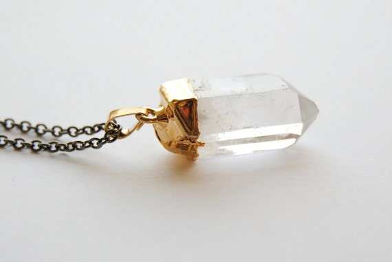 Raw Crystal Pendant. Gold Dipped Quartz Necklace. Crystal Necklace. Healing Crystals and Stones. Small Crystal Point. FREE Shipping n US