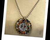 Thick metal PEACE SIGN bottle cap necklace by From Junk 2 Funk