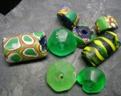 Antique Trade Beads Millefiore Vasaline Green and Yellow's