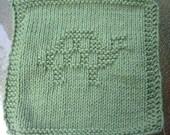 Green turtle dish cloth wash cloth, knit dishcloth, knit washcloth