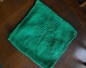Green shamrock knit dish cloth/wash cloth, Saint Patrick Day