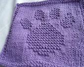 Hand Knitting Dish cloth/wash cloth Paw Print