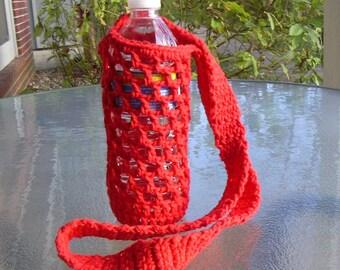 Crochet bottle carrier holder - red