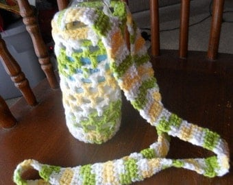 Crocheted bottle carrier / holder Green Yellow White