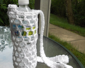 Crochet bottle carrier holder  - white