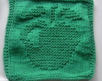 Green apple knit dishcloth, green apple knitted washcloth, green cotton dishrag