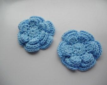 Applique Big crochet flower in light blue 3.0 inches