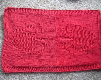 Knitted red apple dish towel, kitchen towel or hand towel