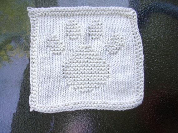 Paw Print Ecru dish cloth wash cloth, knit dishcloth, knit washcloth