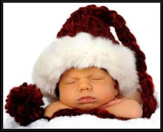 Newborn Santa Hat w Rabbit Fur Trim