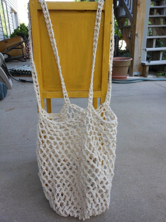 Beige Cotton Mesh Tote Grocery