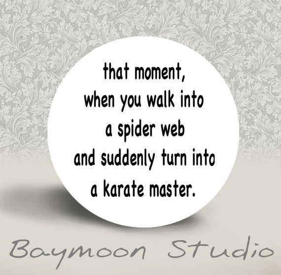 That Moment When you Walk into a Spider Web - PINBACK BUTTON or MAGNET - 1.25 inch round