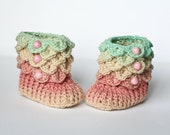 Crocodile Stitch Baby Booties - Size 0 to 6 months - Color: Buttermint