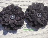 Black Flowers Set of 2 Lace Felt Appliques Flowers for Hair Clips or Scrapbooking 3 inch size