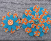 Orange N Teal Bonded Flowers Sister Little Sister Flower Set of 2 Fabric Felt Appliques for Hair Clips or Scrapbooking