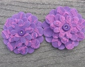 Purple Lace Flowers  Set of 2 Fabric Felt Appliques Flowers for Hair Clips or Scrapbooking 3 inch size