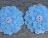 Light Blue Flowers Set of 2 Lace Felt Appliques Flowers for Hair Clips or Scrapbooking 3 inch size