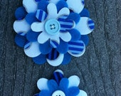 Blue Circles Big Sister Little Sister Flower Set of 2 Fabric Felt Appliques for Hair Clips or Scrapbooking