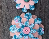 Pink Blue Geometric Big Sister Little Sister Flower Set of 2 Fabric Felt Appliques for Hair Clips or Scrapbooking