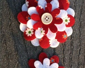 Floral Big Sister Little Sister Flower Set of 2 Fabric Felt Appliques for Hair Clips or Scrapbooking