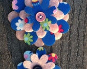 Blue Floral Fun Big Sister Little Sister Flower Set of 2 Fabric Felt Appliques for Hair Clips or Scrapbooking
