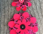 Pink Swirl Big Sister Little Sister Flower Set of 2 Fabric Felt Appliques for Hair Clips or Scrapbooking