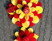 Yellow Ladybugs Big Sister Little Sister Flower Set of 2 Fabric Felt Appliques for Hair Clips or Scrapbooking