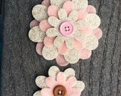 Pink Hot Chocolate Sister Little Sister Flower Set of 2 Fabric Felt Appliques for Hair Clips or Scrapbooking