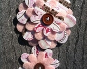 Neapolitan Big Sister Little Sister Flower Set of 2 Fabric Felt Appliques for Hair Clips or Scrapbooking
