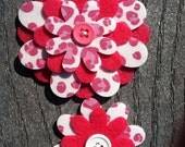 Pink cheetah Big Sister Little Sister Flower Set of 2 Fabric Felt Appliques for Hair Clips or Scrapbooking