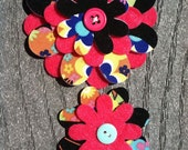 Bold Butterfly Big Sister Little Sister Flower Set of 2 Fabric Felt Appliques for Hair Clips or Scrapbooking