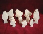 Mushrooms/Toadstools, Set of 12,  Unfinished Pine Cutouts