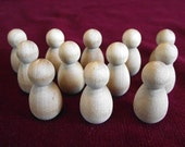 12 of No. 10 Baby or Bumble Bee Peg Dolls, Unfinished Hardwood