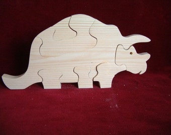 Triceratops Puzzle, Unfinished Pine