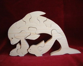 Dolphin with Two Babies Puzzle, Unfinished Pine