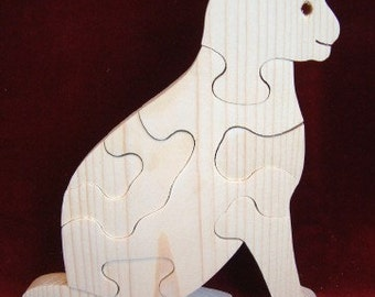 Sitting Cat Puzzle , Unfinished Pine