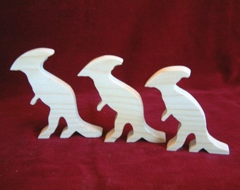 Hadrosaur (Duck Billed or Crested) Dino Family of Unfinished Pine Cutouts